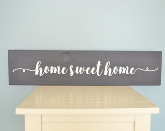 Rustic home sweet home sign // Rustic Home Sign // Cursive home sign // Modern farmhouse home sign // Black white home sign