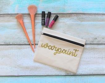 Warpaint Canvas Zip Up Make Up Bag Pencil Case
