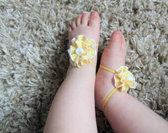 Yellow White Sunshine Flower Baby Barefoot Sandals