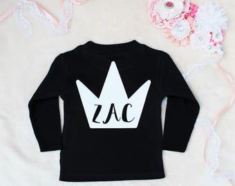 Personalised Crown Back Print Long Sleeve Top T-Shirt