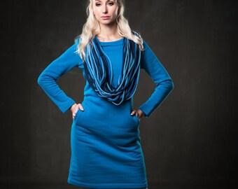 Women warm dress - Soft blue dress - Long sleeve dress - Cold season dress - Straight midi dress - Boat neck dress - Business dress -UM43L-6