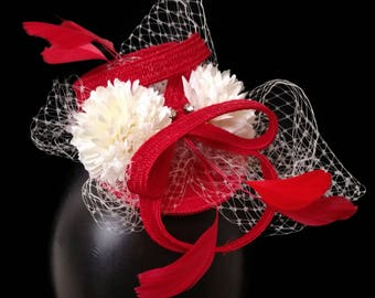Red Fascinator, Raceday Fascinator, Racing Hat, Melbourne Cup Hat, Racing Hat, Fascinator, Racing headpiece, Womens/Ladies Hat - SCARLETT
