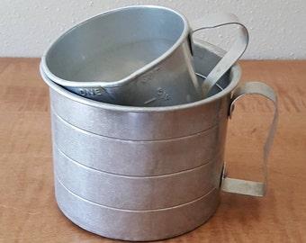 Vintage Aluminum Measuring Cup Set of Two 1950s Farmhouse Decor
