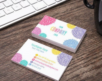 Multi Colored PomPom Business Card - Home Office Approved Branding Guide Approved Fonts Colors - Bundles Available - Leggings Business Card