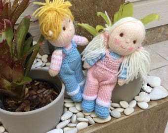 Hand knitted Jack and Jill dolls