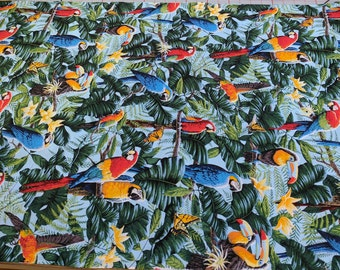 Wings of Paradise-Macaws Cotton Fabric