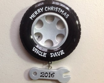 Personalized Mechanic, Handyman, Tire wrench Christmas Ornament-dad Grandpa, auto repair shop gift