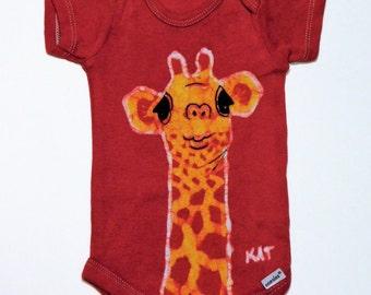 Giraffe Onesie, Red Bodysuit, Baby Gift, Batik Clothing, Under 50