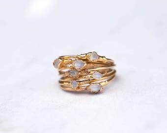 Dainty Crystal Ring, Dainty Boho Ring, Herkimer Diamond Ring, Thin Raw Ring, Thin Rough Crystal Ring, Raw Crystal Ring, Delicate Raw Ring