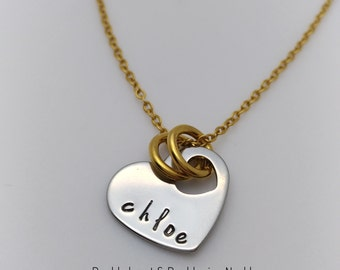 Heart in Heart with Handstamped Name - Premium Stainless Steel Jewelry