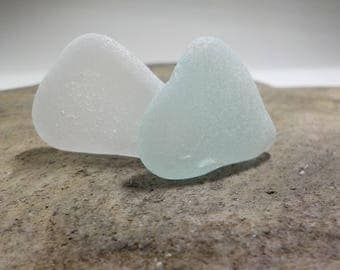 "Genuine Perfectly smoothed flawless White and Light Blue Round Sea Glass 2 pieces-1.2""-Rare Sea Glass-Pendant size Sea Glass#423#"