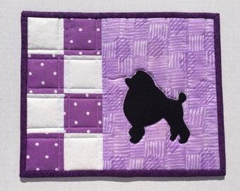 Mug Rug, snack mat, candle mat, purple, Poodle, Quiltst handmade