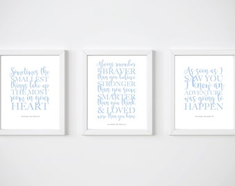Winnie the Pooh, Disney quotes, Set of 3, Disney prints, Always remember, Minimalist, Modern wall art, Blue, Nursery decor, Smallest things