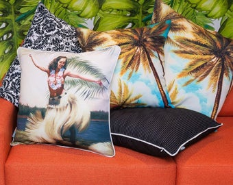 OUTDOOR Pillow Cover HULA GIRL Vintage Beach Decorative Throw Pillow Cushion Cover for Indoors or Outside - Cover only