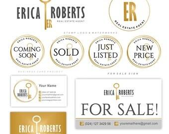 Real Estate logo design, Realtor logo, Custom initials key logo, Key logo, Gold keyence, Realty Logo design, Broker branding kit resltor 116