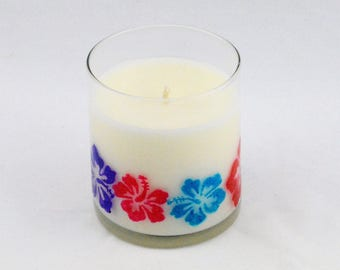 Tropical, Scented Candles, Beach Decor, Soy Candles Handmade, OOAK, Summer Decor, Gift Ideas, Travel Gift, Hibiscus Flower,