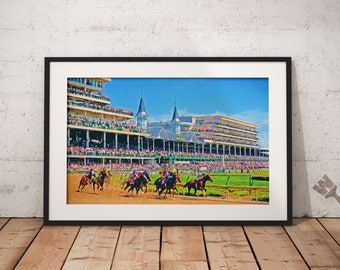 Churchhill Downs Kentucky Derby Painting, Churchhill Downs Print, Kentucky Derby Print, Triple Crown, Horse racing decor, horse painting