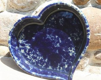 Bennington Pottery Blue Mottled Stoneware Heart Shaped Baking Dish