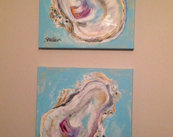 Oyster Shells on Blue - Oyster Painting