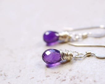 Tiny Amethyst Earrings, Purple Stone Jewelry, Sterling Silver Wire Wrap Stone Dangles, Genuine Gemstone February Birthstone