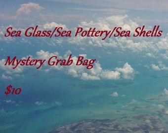 Mystery Grab Bag, Grab Bag, Sea Glass, Sea Shells, Sea Pottery, Surf Tumbled, Authentic Sea Glass, Bulk Craft Supplies, Mystery Box,Nautical