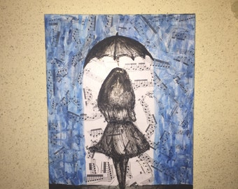 Girl Walking in the Rain and Music Painting