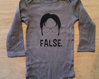"Dwight Shrute ""False"" Screen Print Baby Bodysuit//The Office Baby//Hand Dyed//Custom Made//Baby Shower Gift//Gender Neutral"