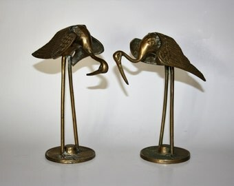 Vintage Brass Cranes - Pair Brass Egrets - Pair Brass Herons