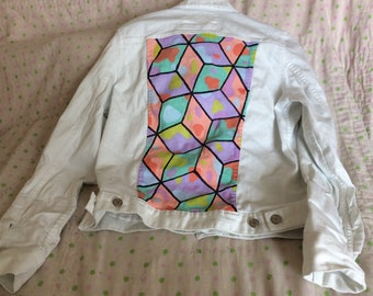Woman's handpainted abstract Jean jacket