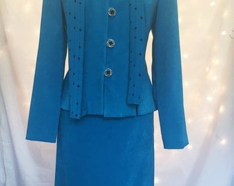 Turquoise Two Piece Vintage Suit with Pencil Skirt in Vegan Faux Suede with Matching Polyester Scarf - Size 10 Petite - Medium