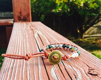 Green Fancy Jasper Cord Bracelet