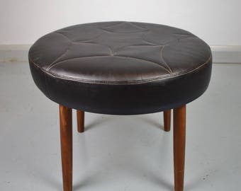 Danish Mid Century Vintage Retro Black Leather Circular Foot Stool / Ottoman 60s