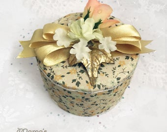 "Yellowed Flowered Paper Mache Jewelry Box, 3.5""w x 2""h, Vintage Looking, Peach Roses, Gold Ribbon, Trinkets, Birthday, Mother's Day, Gold"