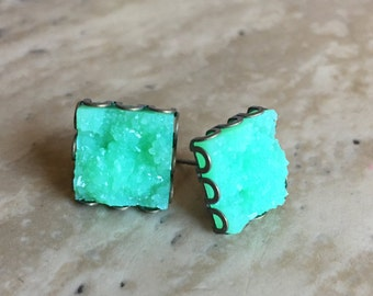 12x12mm Faux Druzy Square Earrings- Chloe