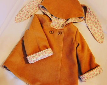 Girls coat with bunny ears