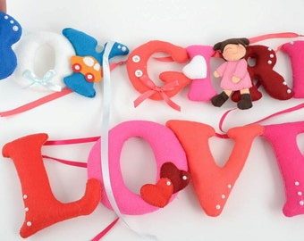 LOVE garland love banner valentines day gift large felt love garland felt letters hearts personalised bunting child's decor heart felt