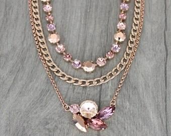 Rose Gold necklace, Layered necklace, Bridal necklace, Blush pink crystal necklace, Wedding jewelry, Blush wedding necklace, Swarovski