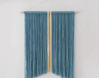 Blue + Mustard Yellow + Ivory White Modern Bohemian Yarn Wall Hanging