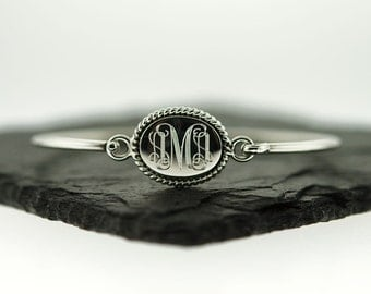925 Sterling Silver Oval Nautical Rope Monogram Bangle Bracelet, Monogram Bracelet, Oval Monogram Bangle