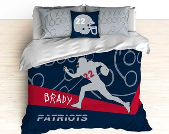 Patriots Bedding, Personalized Football Bedding, Custom Football Bedding, Blue, Red, Duvet, Comforter, Football, King, Twin, Queen, Toddler