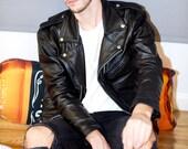 mens leather jacket black leather biker jacket