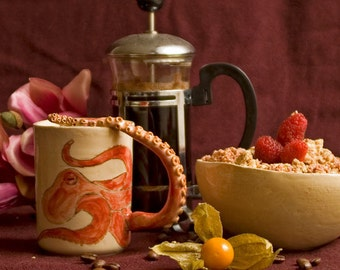 Breakfast set   Octopus   Cereal Bowl & Cup   One of a kind. Hand work