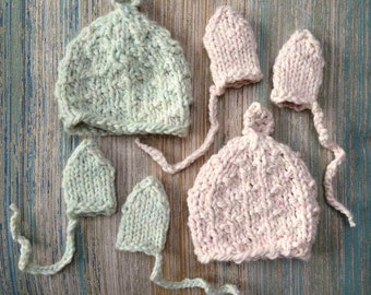 New Baby Boy Hat Gift Set, Super Soft Baby Hat & Baby Mittens, Made in USA,  American Wool from Long Island, New York