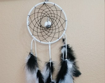 "5"" Ring Dream Catcher white leather / feathers, Black cord /feathers, snow quartz & Hematite, Indian Heritage,Reiki Infused."