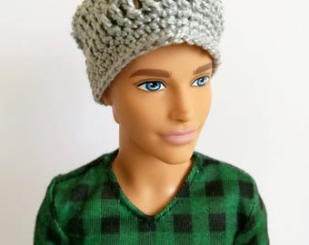 Gray slouchy beanie for Ken doll, doll clothes