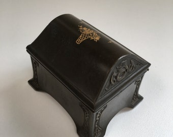 Art Nouveau, Benedict Adam-Verd Bronze Hinged Box, American Vintage Early 1900's