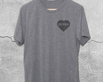 Pickle Shirts - Heart Pickles Vintage T-Shirt - Funny T-Shirts - Funny Graphic Tee for Men & Women- Funny Pickles Shirts - Funny Tshirts
