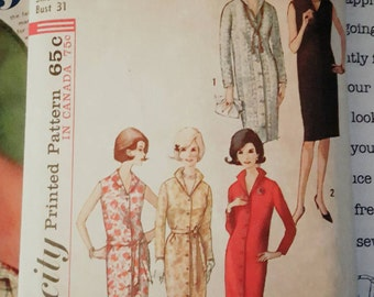 1964 Simplicity 5538 Misses Front Button Shirtdress Size 10 CUT Complete Sewing Pattern ReTrO Comfy!