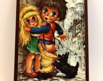 Michel Thomas retro Big Eye boy and girl kitsch print Paris post card 6cmx8cm 1960s