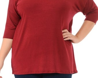 Solid Relaxed Tunic Plus Burgundy